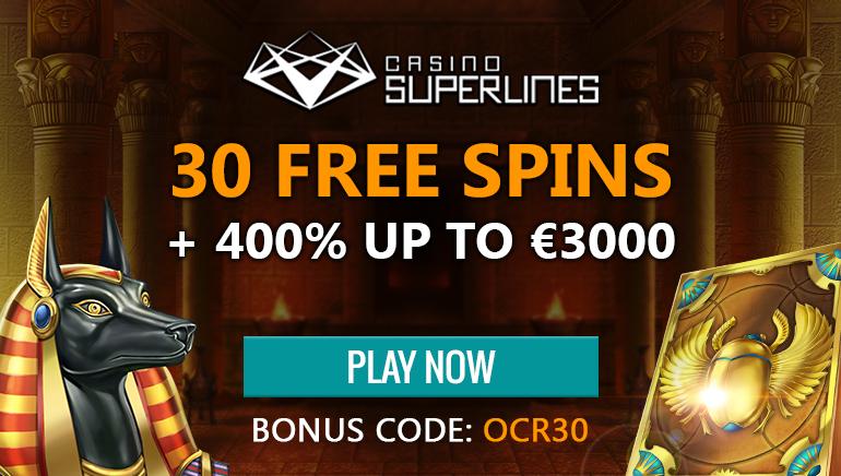 Започнете игра в Casino Superlines с 30 безплатни завъртания без депозит